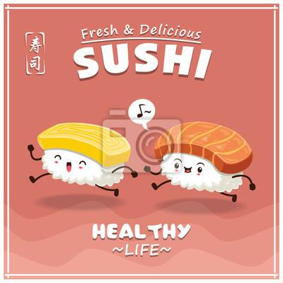 Vintage projektu Sushi plakat z wektora sushi charakteru. Chiński słowo oznacza sushi.