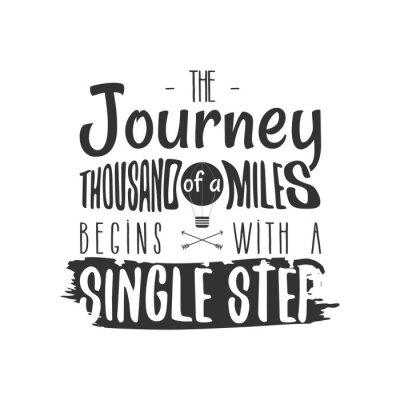 Plakat Vintage przygoda Ręcznie narysowany projekt etykiety. Kilometr Miles zaczyna się znakiem Single Step i symbolami aktywności na świeżym powietrzu - balonem. Monochromia. Samodzielnie na białym tle. Wek