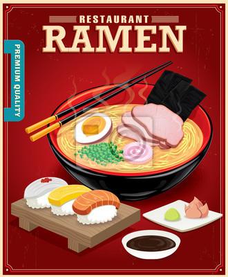 Vintage Ramen projekt plakatu. Chiński słowo oznacza sushi.