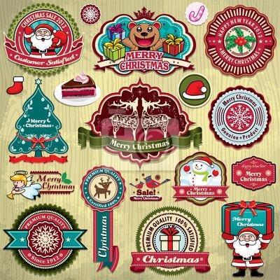Vintage ramka ustawiona z Christmas, Santa Claus tle