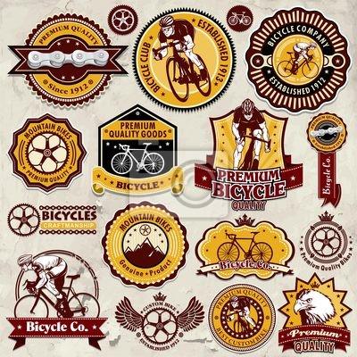 Plakat Vintage ramki z szablonu rowerów zestaw etykiet