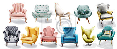 Plakat Vintage retro armchair set collection Vector watercolor. Modern style furniture. Old effect designs