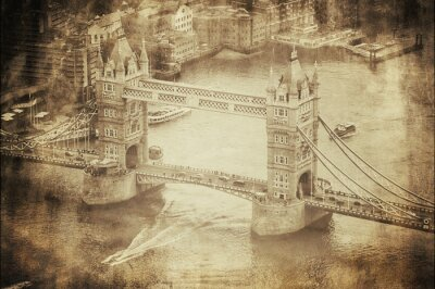 Plakat Vintage Retro Obraz Tower Bridge w Londynie, Wielka Brytania