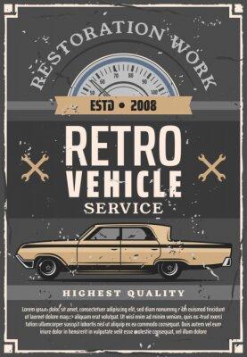 Plakat Vintage samochód i narzędzie mechanika. Serwis napraw samochodowych