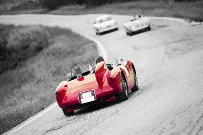 Plakat Vintage samochód sportowy na czarno-białe tło