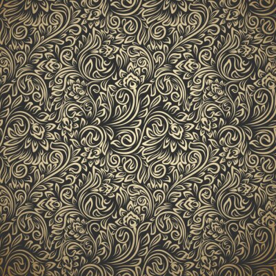 Plakat Vintage seamless pattern with curls