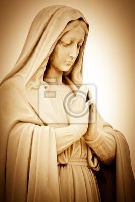 Plakat Vintage sepia obraz cierpienia religijna kobieta, modląc się