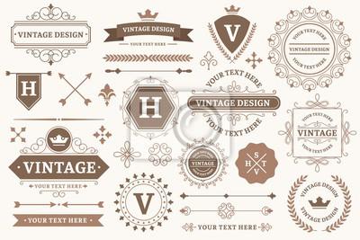 Plakat Vintage sign borders. Elegant frame, luxurious old design and antique typography border. Best product stamp, decorative border frames or victorian wedding card logo. Isolated vector symbols set