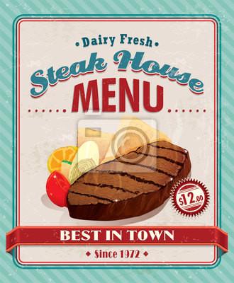 Plakat Vintage steak house grill projekt plakatu