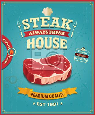 Vintage steak house poster design