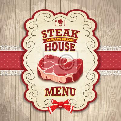 Vintage Steak House poster projektowanie
