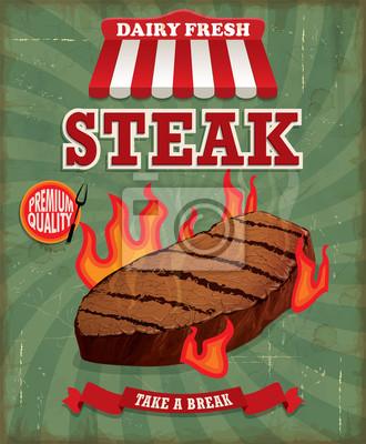 Vintage steak poster design