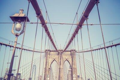 Plakat Vintage stonowanych obraz Brooklyn Bridge, NYC.