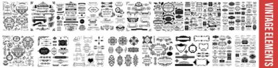 Plakat  vintage styled calligraphic elements or flourishes, Vintage Dividers And Borders, Decorative Ornate Elements and Badges, Vector set of calligraphic design elements, Vintage line elements