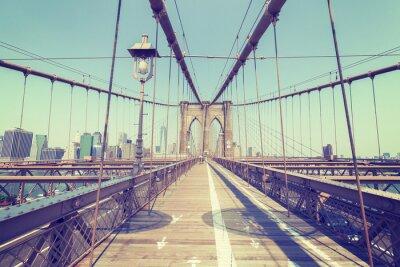 Plakat Vintage stylizowane zdjęcia z Brooklyn Bridge, NYC.