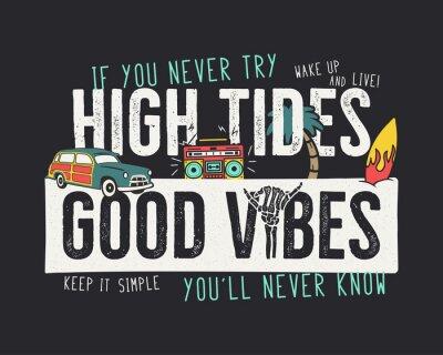 Plakat VIntage summer adventure print design for t shirt, poster. High tides, good vibes typography slogan. Surf car, retro tape and surfboard elements. Retro stock illustration