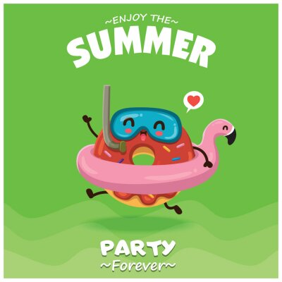 Vintage summer food poster design with vector donuts & pink flamingo pool float characters.