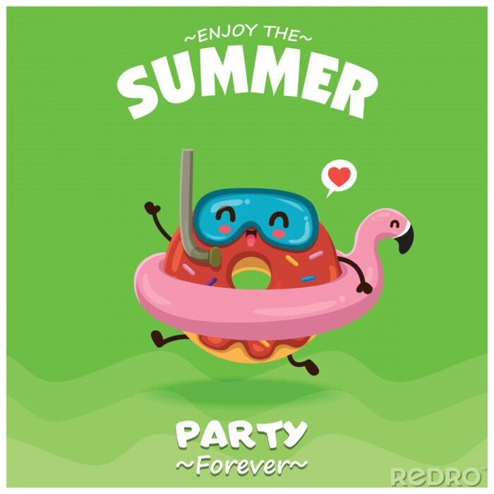 Plakat Vintage summer food poster design with vector donuts & pink flamingo pool float characters.