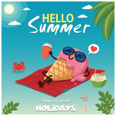 Vintage summer food poster design with vector ice cream characters.