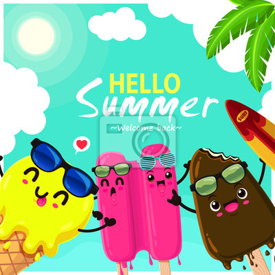 Plakat Vintage summer food poster design with vector ice cream characters.
