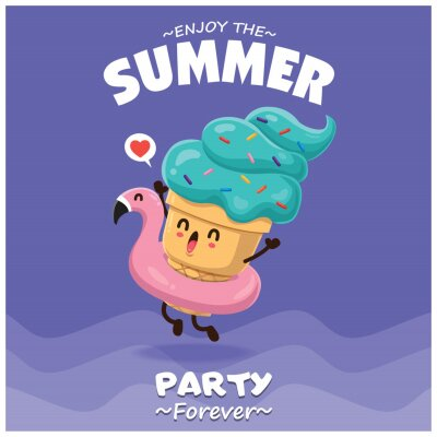 Plakat Vintage summer food poster design with vector ice cream & pink flamingo pool float characters.