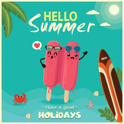 Vintage summer food poster design with vector ice cream & surfboard characters.