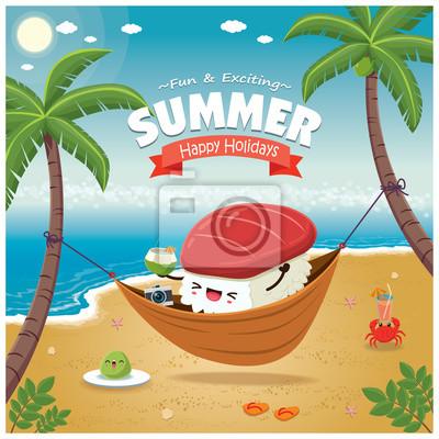 Vintage Summer plakat z charakterem sushi Maguro, sieć do spania, palmy.