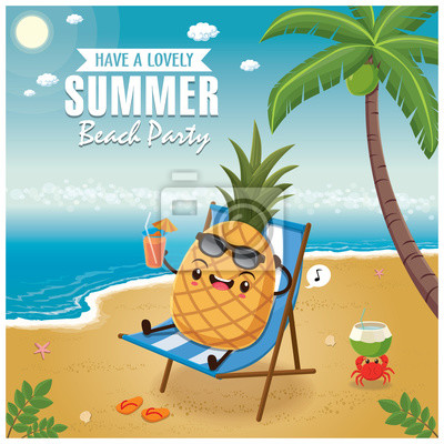 Vintage Summer plakat z cytryną znaków, sieć do spania, palmy.
