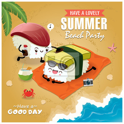 Vintage Summer plakat z Tamago, charakter sushi Hokkigai, palmy.