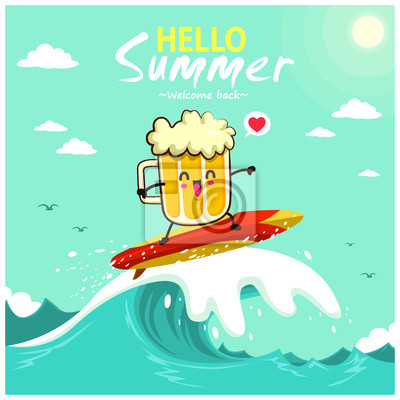 Plakat Vintage summer poster design with beer characters.