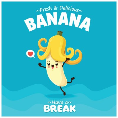 Vintage summer poster design with vector banana character.