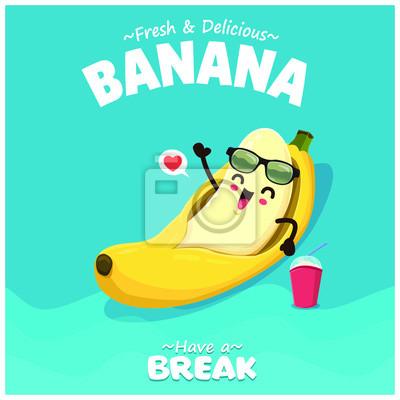 Plakat Vintage summer poster design with vector banana character.