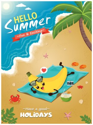 Vintage summer poster design with vector banana characters.