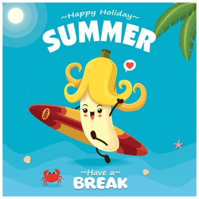 Vintage summer poster design with vector banana & surfboard character.