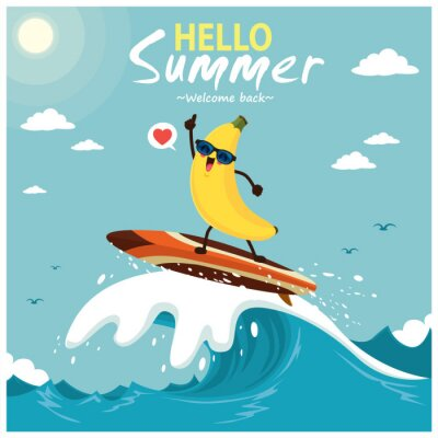 Plakat Vintage summer poster design with vector banana & surfboard characters.