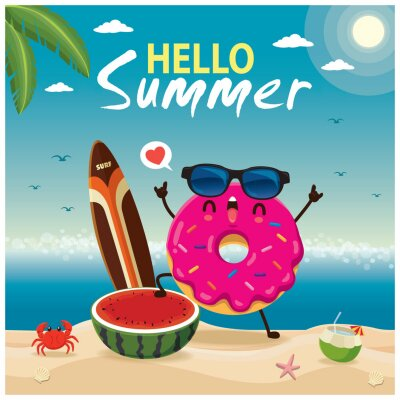 Vintage summer poster design with vector donuts characters.