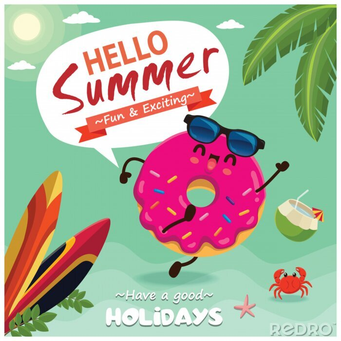 Plakat Vintage summer poster design with vector donuts characters.