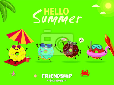 Plakat Vintage summer poster design with vector donuts characters set.