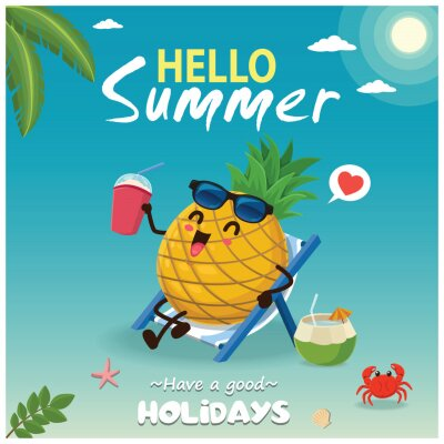 Vintage summer poster design with vector pineapple & sunglasses characters.