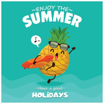 Vintage summer poster design with vector pineapple, surfboard & sunglasses characters.