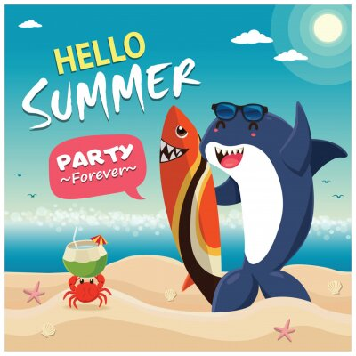 Vintage summer poster design with vector shark characters.