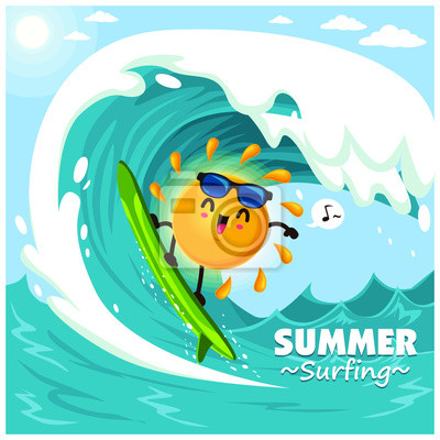 Vintage summer poster design with vector sun, surfboard & sunglasses characters.