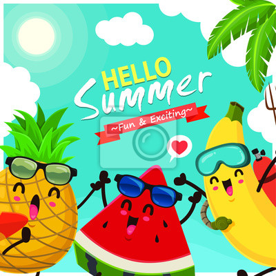 Vintage summer poster design with vector watermelon, pineapple, banana & surfboard characters.