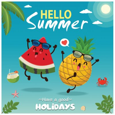 Vintage summer poster design with vector watermelon & pineapple characters.