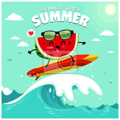 Vintage summer poster design with vector watermelon & sunglasses characters.