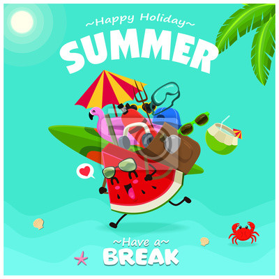 Vintage summer poster design with vector watermelon, sunglasses characters.