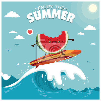 Plakat Vintage summer poster design with vector watermelon & surfboard characters.