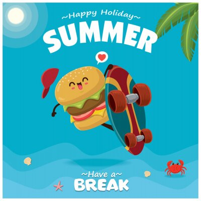 Vintage Summer poster with Burger cartoon character with skateboard illustration.