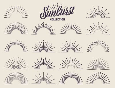 Plakat Vintage sunburst collection. Bursting sun rays. Fireworks. Logotype or lettering design element. Radial sunset beams. Vector illustration.