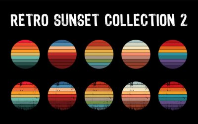 Plakat Vintage sunset collection in 70s 80s style. Regular and distressed retro sunset set. Five options with textured versions. Circular gradient background. T shirt design element. Vector illustration,flat